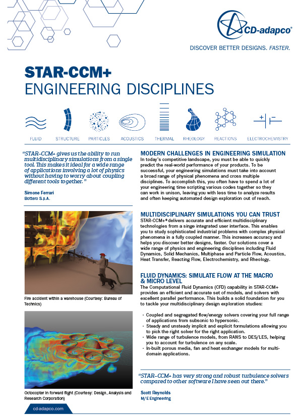 STAR-CCM Engineering Disciplines Flyer