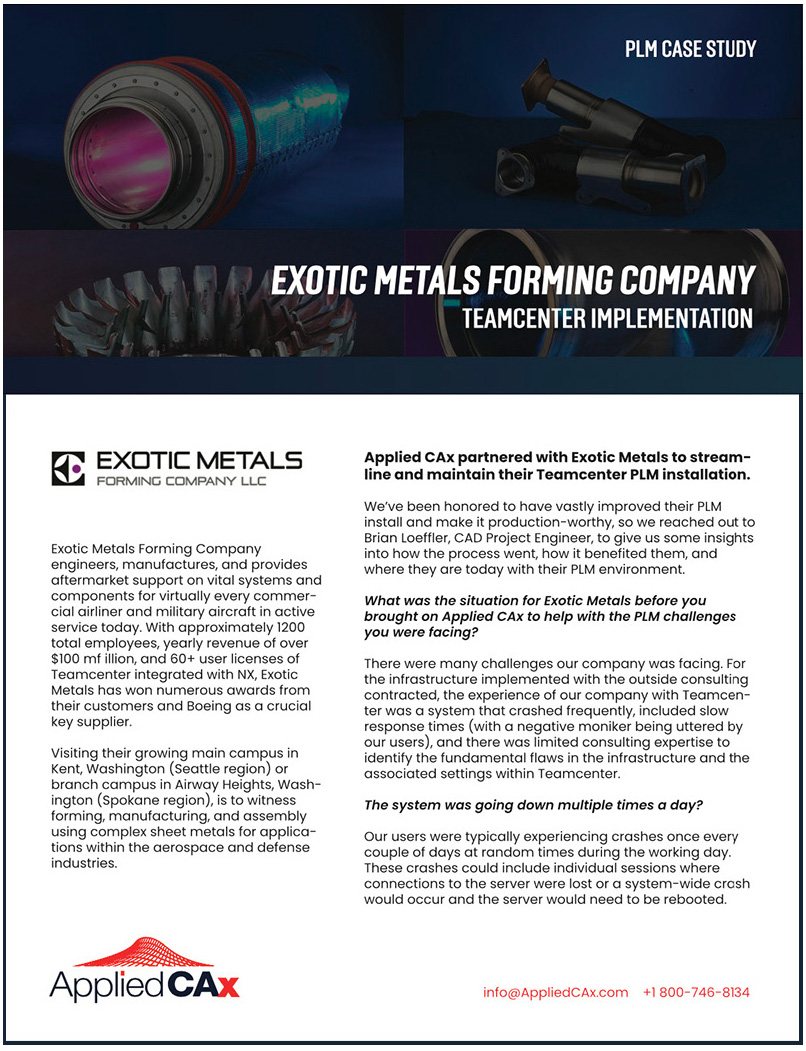 Exotic Metals plm case study teamcenter